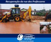 Devido fortes chuvas a rua dos Professores ficou quase intrafegável.