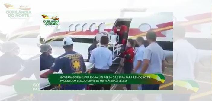 Governador Helder envia uti aérea da Sespa para remoção de paciente em estado grave de Ourilândia para Belém-PA